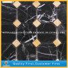Preiswerte chinesische Nero Marquina schwarze Marmormosaik-Fliesen für Wand/Fußboden