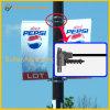 旗のハンガー(BT-BS-007)を広告している金属の街灯ポーランド人