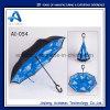 Regalo promocional invertida de doble capa resistente al agua Reverse paraguas con mango de C