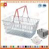 Cesta de compras plegable de la maneta del alambre de metal para el almacén cosmético (Zhb138)