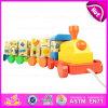De kleurrijke Trekkracht van de Trein van abc- Brieven Houten Rotatie langs Stuk speelgoed, het Beste Verkopende Houten Stuk speelgoed van de Trein ABC met Blokken W05c027