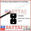 Cabo de gota de fibra óptica interior FTTH Drop Cable com fio de aço