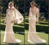 Vestido nupcial do laço longo das luvas fora do vestido de casamento Cab2169 da praia do país do jardim do ombro