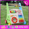 Bester Großhandelsentwurfs-multi Stoß entlang hölzernes Baby-gehenden Spielwaren W08j001