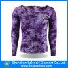 Il commercio all'ingrosso mette in mostra la maglietta in bianco di Longsleeve del cotone della pianura 100 dell'abito