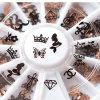 2016 de nieuwe 3D Zwarte Toebehoren van de Juwelen van de Spijker van de Charme van de Vorm van de Liefde van de Decoratie van de Kunst van de Spijker van het Metaal 120PCS