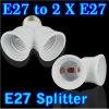 二倍になるE27は二重2X E27のソケットベースディバイダーのプラグハロゲンライト電球のホールダーの銅の接触のアダプターのコンバーターを伸ばす