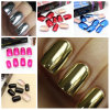 새로운 24tips Gold, Silver, Red, Blue, Magenta, Black Color Metallic Nail Tips, False Nails, Nail Art, Artificial Nails, Nail Tool, ABS Resin