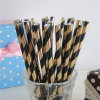 Papel rayado de la hoja de oro Negro pajas de beber flexible para la boda