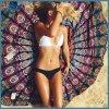 フラミンゴのSunbathを泳ぐための円形の総括的な日曜日のショールのビーチタオル