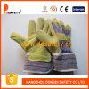 Katoenen van de Streep van het Leer van het varken de Gespleten Achter Werkende Handschoen DLP503 van Ce