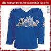 中国の卸売によって刺繍される青い顧客用ホッケージャージー