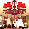 Rotes Candle Glass Crystal Chandelier für Decorative