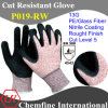 13G красного цвета PE/Стекловолокно вязаные рукавицы с нитриловые грубая бумага с покрытием для рук/ EN388: 4543