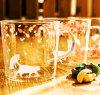 Janpaneseの花デザインホウケイ酸塩ガラスのコップ