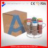 6PCカラープラスチックふたの金属の香辛料用の棚が付いているガラススパイスの瓶