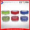 Großhandelsglasspeicherglas mit Farben-Plastikkappe