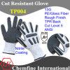 13G белого цвета PE/Стекловолокно вязаные рукавицы с нитриловые песчаного покрытия и TPR назад/ EN388: 4543