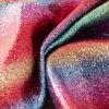 Couro liso da tela do Glitter do arco-íris o mais novo para o papel de parede