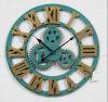 Reloj de madera de la decoración del engranaje de la pared casera redonda de la dimensión de una variable
