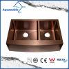 Dissipador de cozinha Handmade do aço inoxidável da bacia do dobro da cor do ouro de Rosa (ACS3021A2RG)