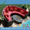 半円の屋外のPEの藤の柳細工の組合せのソファー