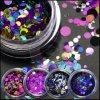 Regenbogen-Farbe geformtes Funkeln blättert für Nagel-Kunst ab