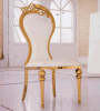 Hotel de oro del acero inoxidable del grabado ornamental de lujo que cena la silla del banquete para las bodas del acontecimiento
