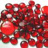 빨간 편평한 둥근 유리제 원석