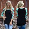 2018人の熱い販売の女性の花柄のRaglan袖の黒の上