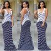 Großhandelsfrauen-multi Farben-gestreiftes langes Maxi Kleid (A118)