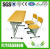 Sf-05D 두 배 학생 책상과 의자 목제 학교 가구 내화성이 있는 교실 Table