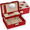 빨간 튼튼한 보석함 리넨 미러 자물쇠 선물 심혼 상자