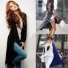 2015人の熱い販売の形態上の女性の長いニットウェアのセーターのコート