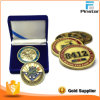 Doppeltes Sided Metal Enamel Souvenir Gold Challenge Coin mit Box