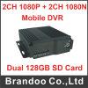 4CH verdoppeln Karte 4cameras bewegliches DVR Ableiter-128GB für Fahrzeug-Überwachung