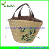 PVC Handle Wheat Straw Beach Bag con Draw String