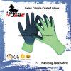 Nylon перчатка работы латекса ладони 13G покрынная Crinkle