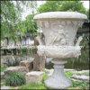Plantadeira de pedra esculpida, jardim de flores em mármore Pot urna (GS-FL-004)