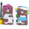 caja del silicón del oso de la maleta del oso del sombrero de la historieta 3D para el iPhone 6 6plus 7 7plus
