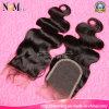 Natural Color Negro Natural Medio Cabello castaño brasileño del pelo suiza de cierre de encaje