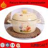 台所調理器具の鍋を調理する円形のエナメルのカセロールの台所用品