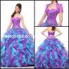 Vestido de esfera roxo Q2154 do azul de vestidos de Quinceanera de Organza