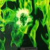 Film d'impression de transfert d'eau de crâne vert et de flamme n ° K01y877X1a