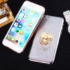 Étui transparent de galvanoplastie avec anneau Loving-Heart Titulaire pour iPhone 7/6S/6