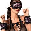Sexy Женское нижнее бельё горячей кружева маска с завязанными глазами Patch + секс наручники секс игрушки для пар