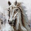 Caballo blanco de la base de aluminio Pintura al Óleo de animales