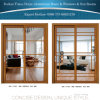 Алюминиевые раздвижные двери деревянные решетки зерна панель из закаленного стекла