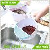 Cuisine 2in1 Fruits / légumes en plastique Panier de lavage avec tamis Panier de lavage au riz avec colliers et poignée
