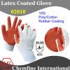 10 г белого полиэстера и хлопка вязаные рукавицы с оранжевым резиновые песчаного покрытия/ EN388: 4232
